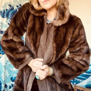 Vintage faux fur and leather paneled coat. 60s 4-6